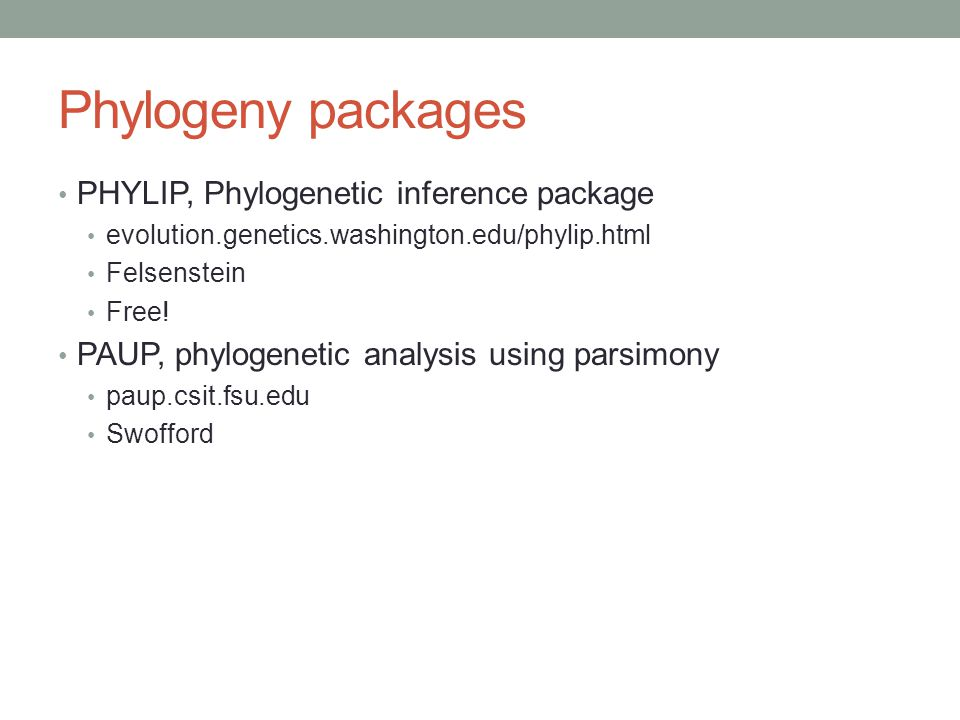 Phylogeny packages PHYLIP, Phylogenetic inference package
