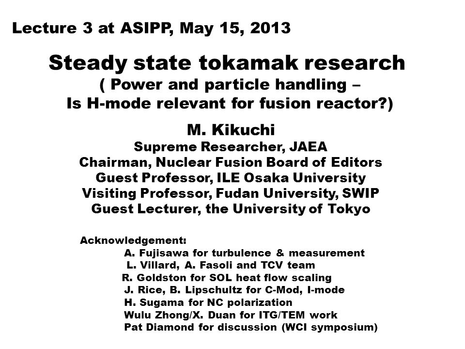 Steady state tokamak research