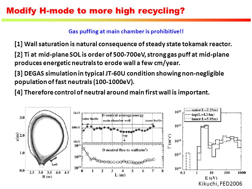 Modify H-mode to more high recycling
