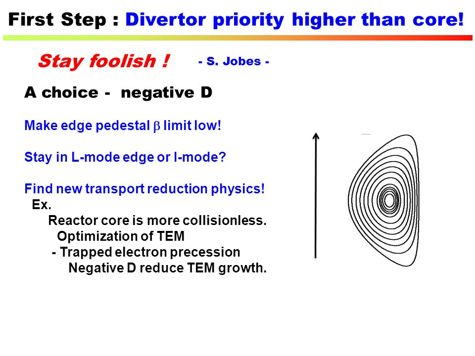 First Step : Divertor priority higher than core!
