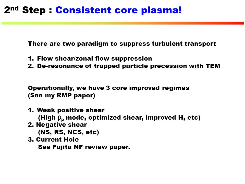 2nd Step : Consistent core plasma!