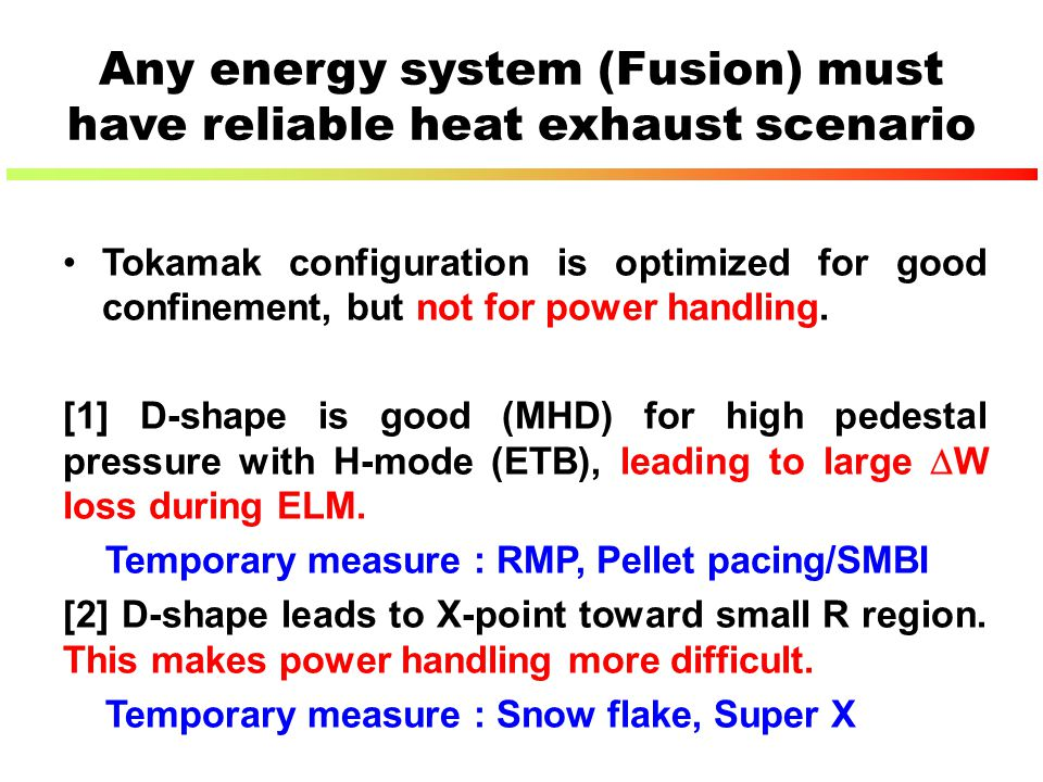 Any energy system (Fusion) must have reliable heat exhaust scenario