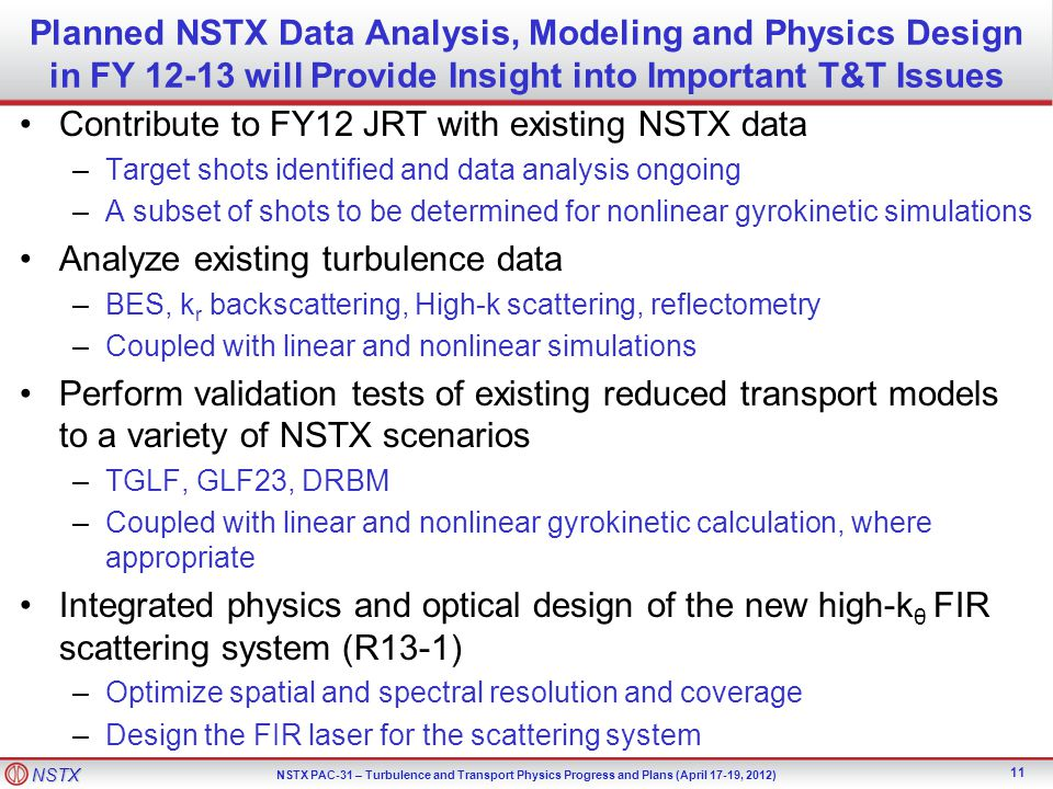 Contribute to FY12 JRT with existing NSTX data