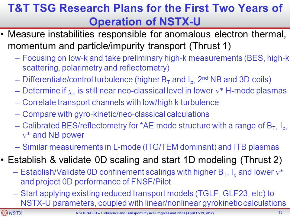 T&T TSG Research Plans for the First Two Years of Operation of NSTX-U