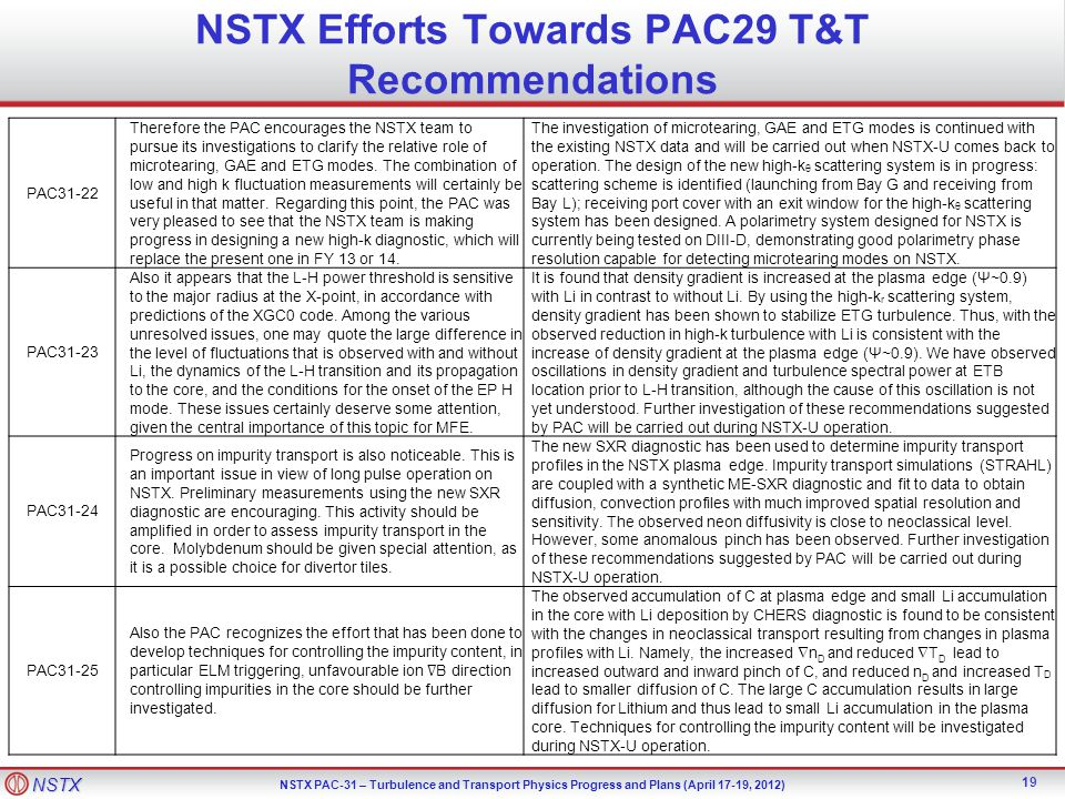 NSTX Efforts Towards PAC29 T&T Recommendations