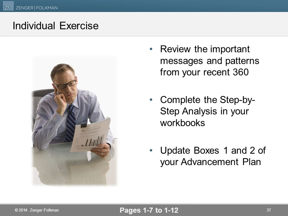 Individual Exercise Review the important messages and patterns from your recent 360. Complete the Step-by-Step Analysis in your workbooks.
