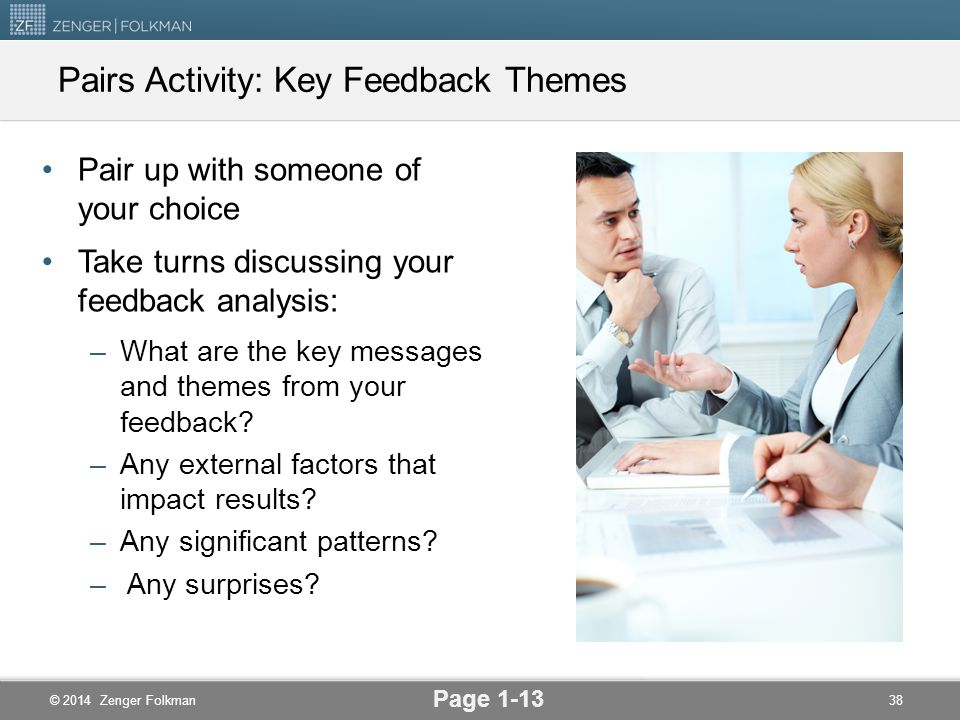 Pairs Activity: Key Feedback Themes