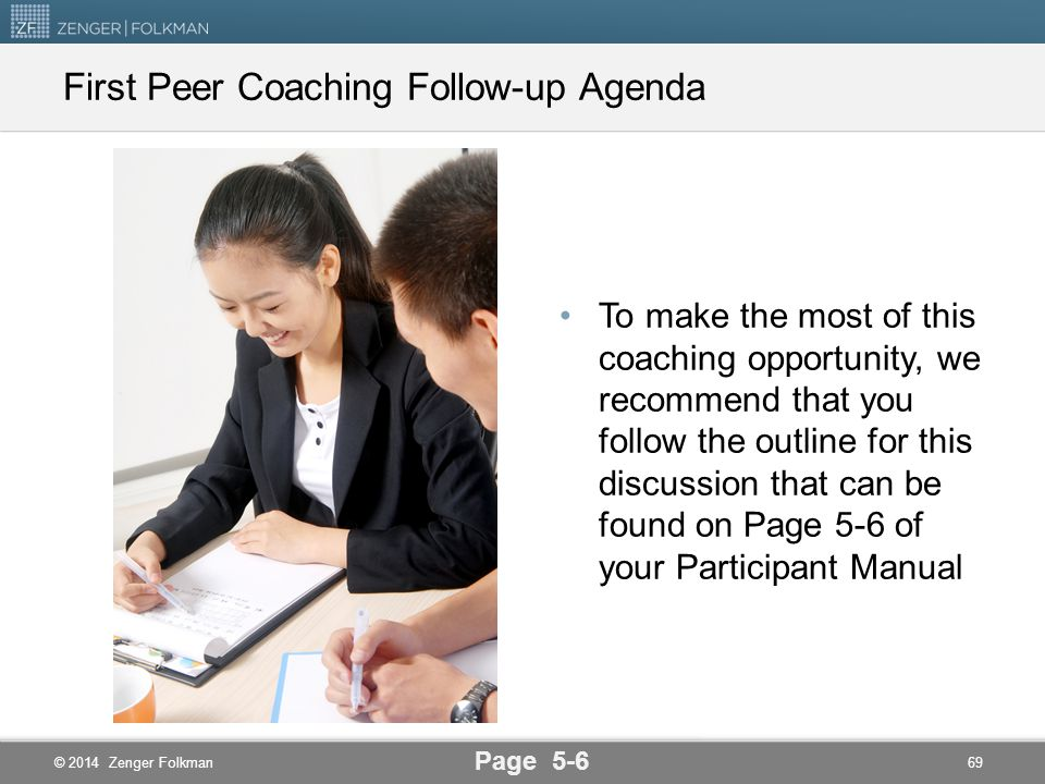 First Peer Coaching Follow-up Agenda