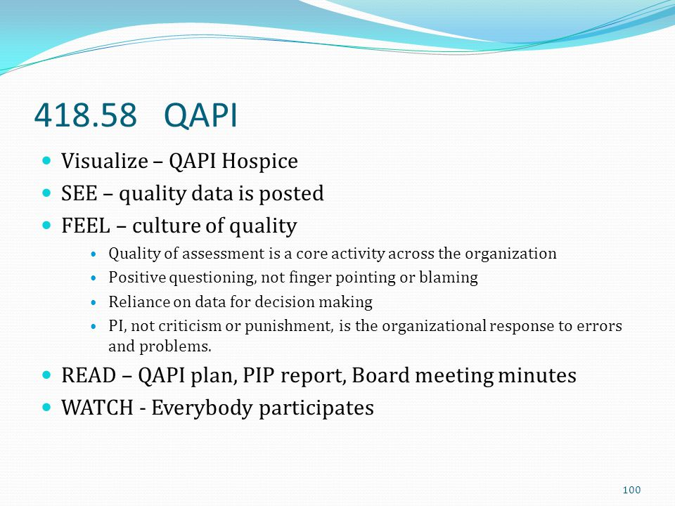 418.58 QAPI Visualize – QAPI Hospice SEE – quality data is posted