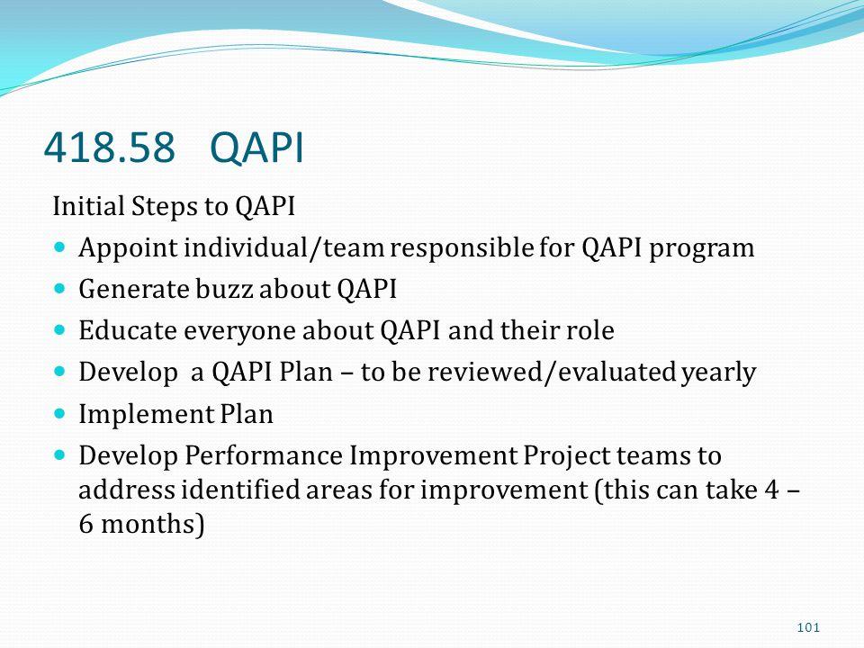 418.58 QAPI Initial Steps to QAPI