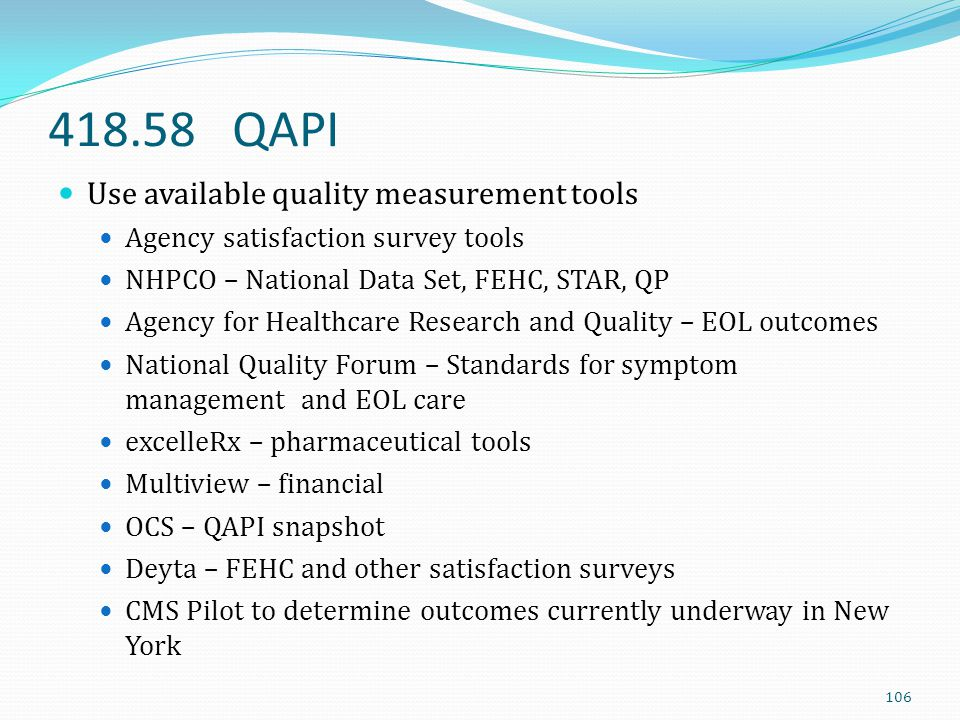 418.58 QAPI Use available quality measurement tools