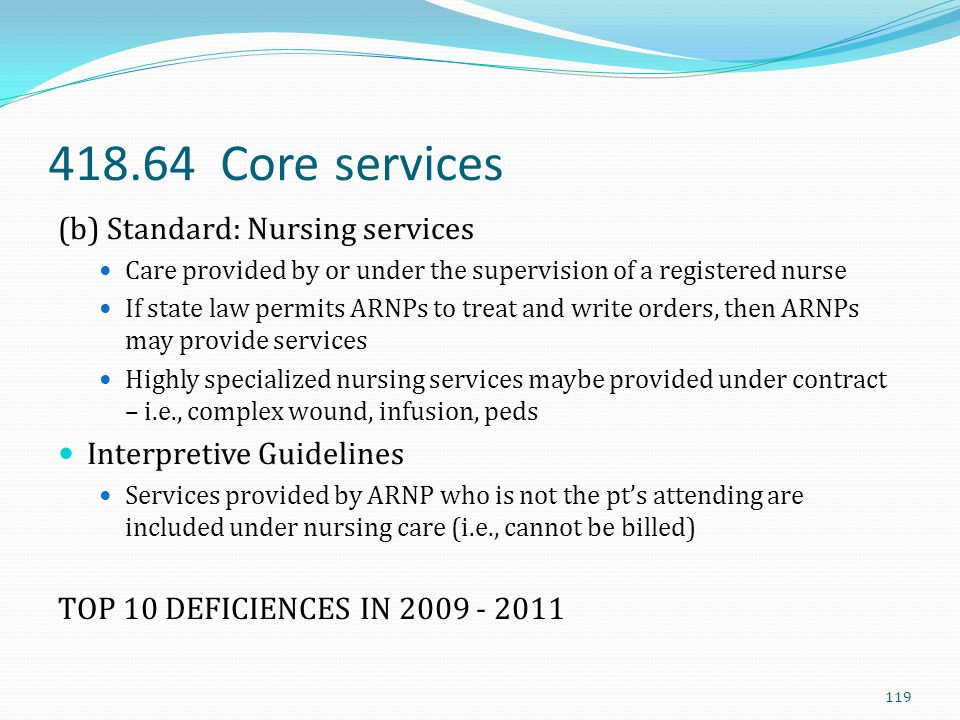 418.64 Core services (b) Standard: Nursing services