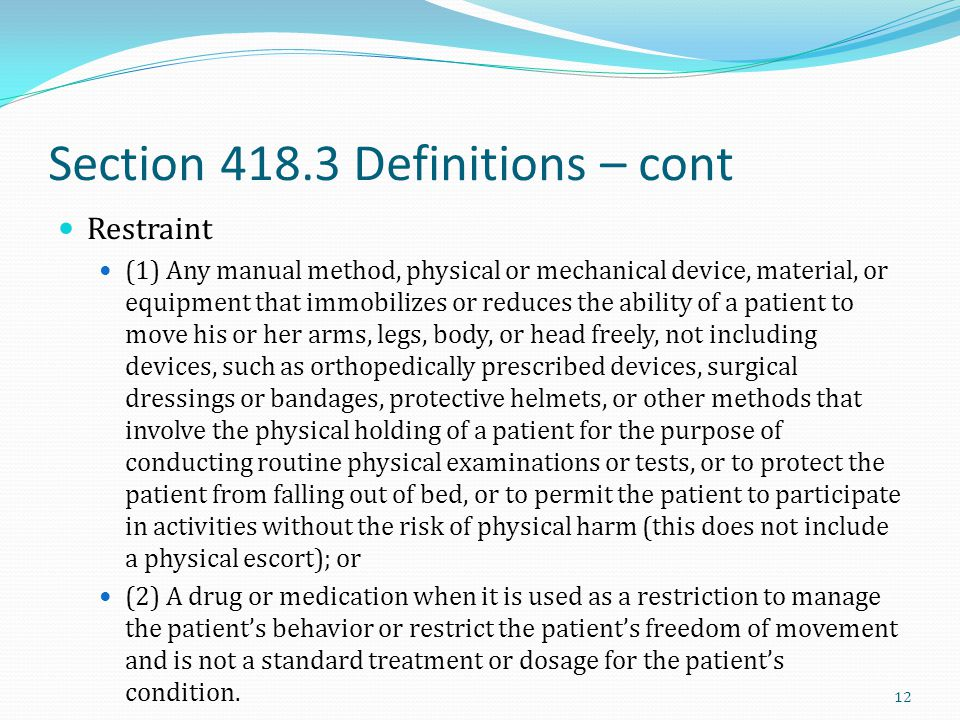 Section 418.3 Definitions – cont