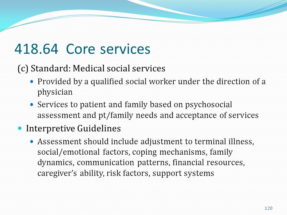 418.64 Core services (c) Standard: Medical social services