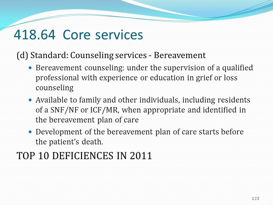 418.64 Core services TOP 10 DEFICIENCES IN 2011
