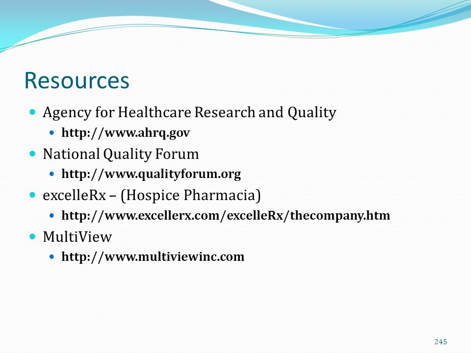 Resources Agency for Healthcare Research and Quality