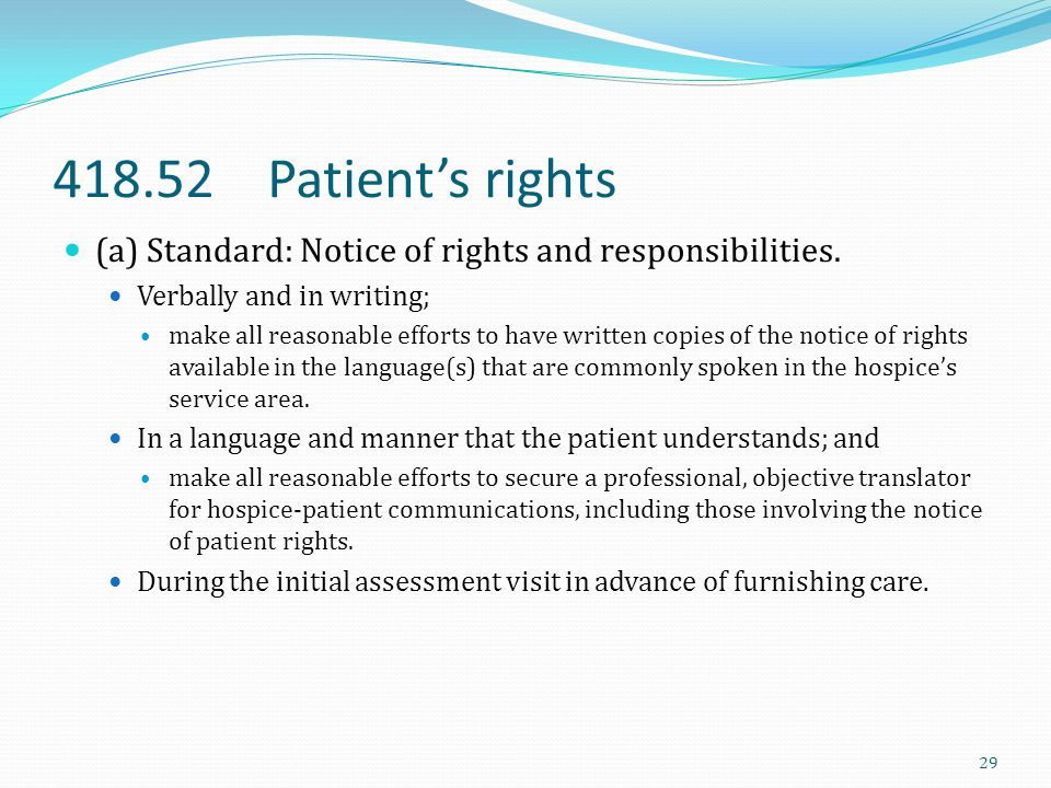 418.52 Patient's rights (a) Standard: Notice of rights and responsibilities. Verbally and in writing;