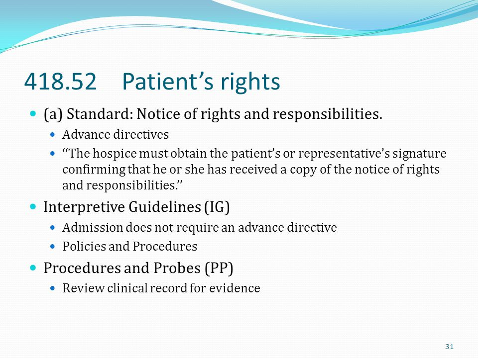 418.52 Patient's rights (a) Standard: Notice of rights and responsibilities. Advance directives.