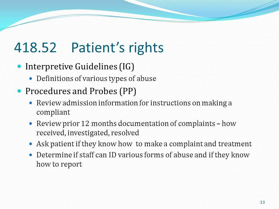 418.52 Patient's rights Interpretive Guidelines (IG)