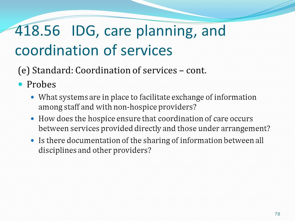 418.56 IDG, care planning, and coordination of services