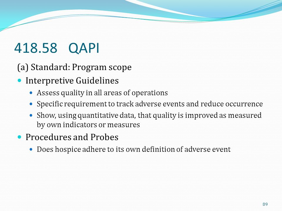 418.58 QAPI (a) Standard: Program scope Interpretive Guidelines