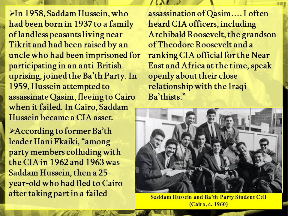Saddam Hussein and Ba'th Party Student Cell