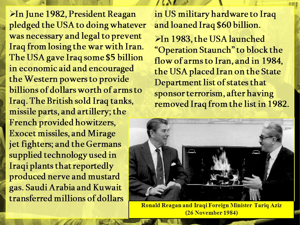Ronald Reagan and Iraqi Foreign Minister Tariq Aziz