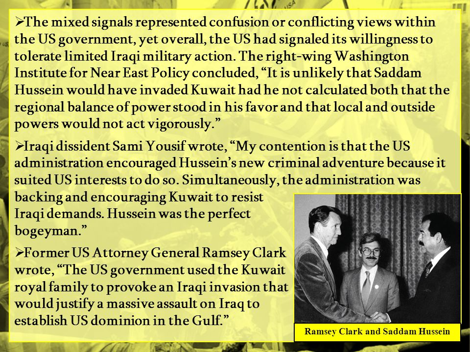 Ramsey Clark and Saddam Hussein