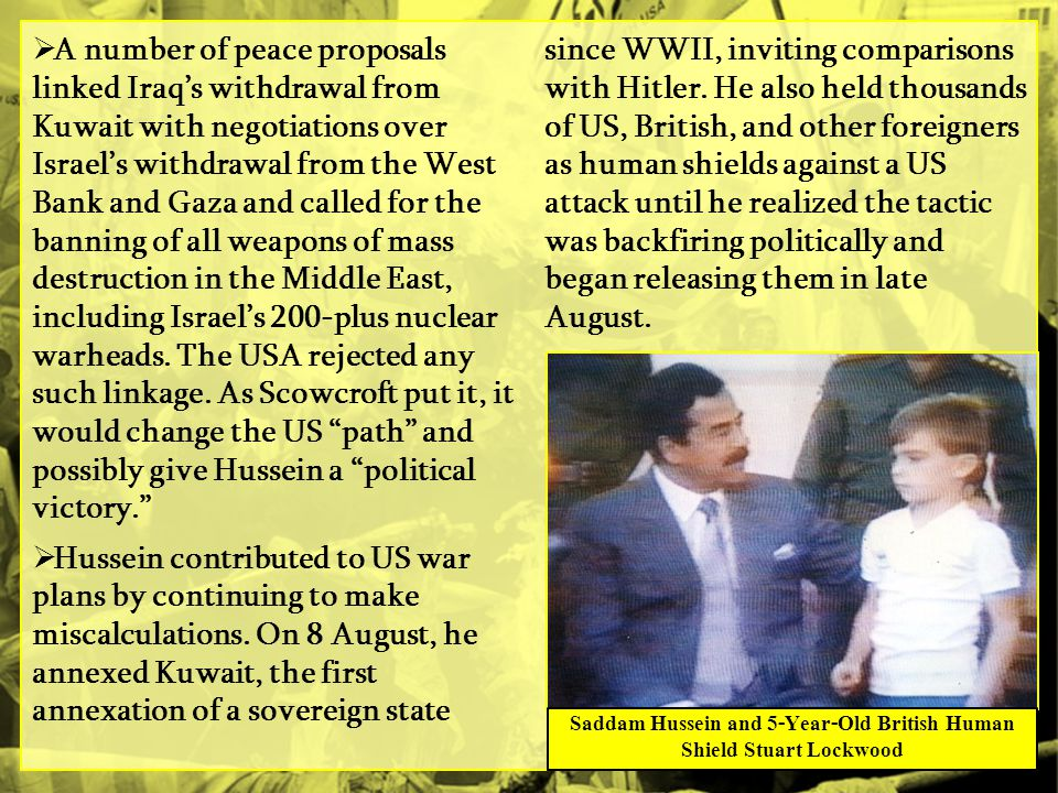 Saddam Hussein and 5-Year-Old British Human Shield Stuart Lockwood