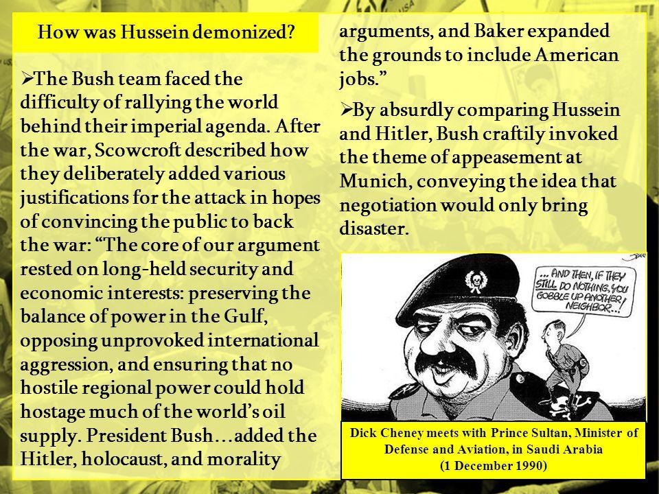 How was Hussein demonized