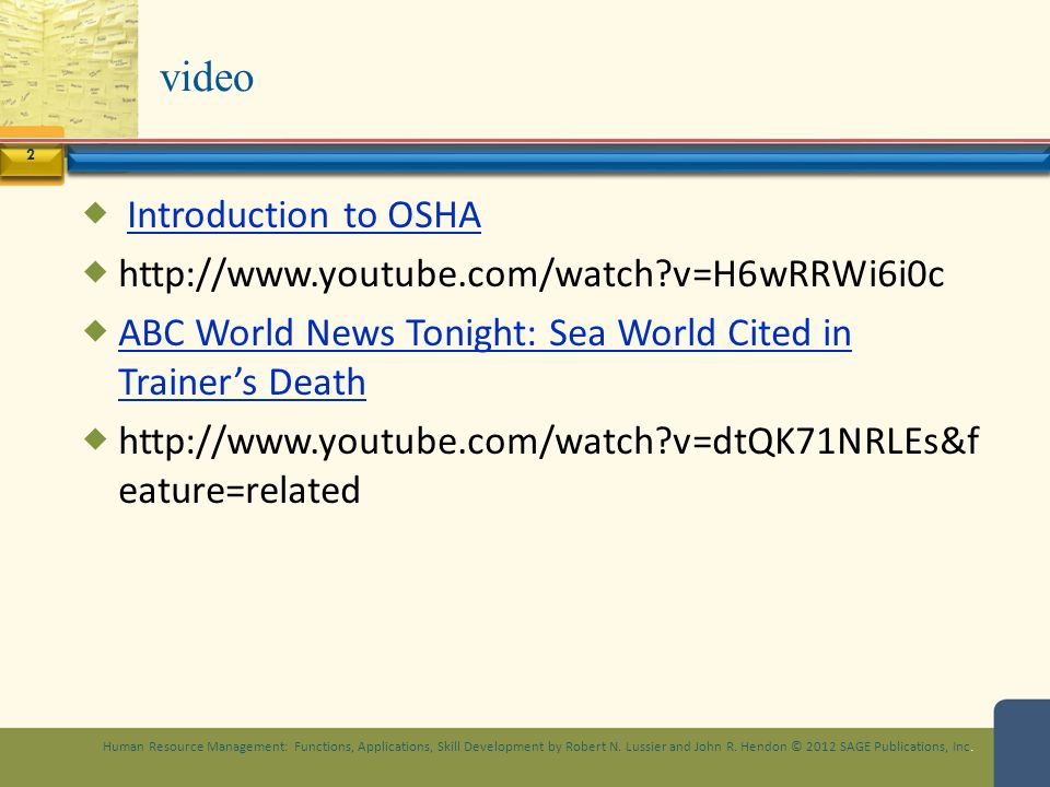 video Introduction to OSHA http://www.youtube.com/watch v=H6wRRWi6i0c