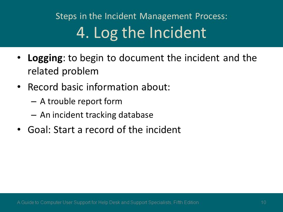 Steps in the Incident Management Process: 4. Log the Incident