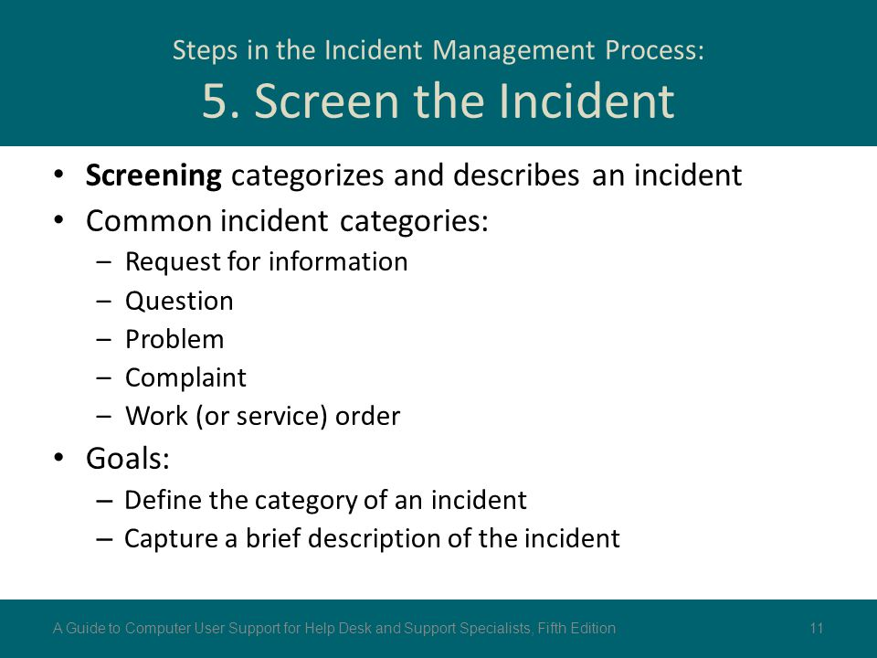 Steps in the Incident Management Process: 5. Screen the Incident