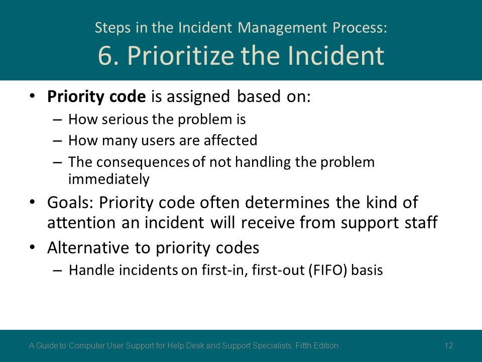 Steps in the Incident Management Process: 6. Prioritize the Incident