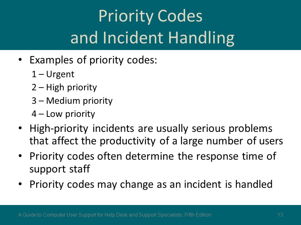Priority Codes and Incident Handling