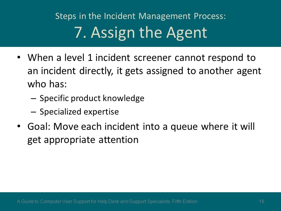 Steps in the Incident Management Process: 7. Assign the Agent