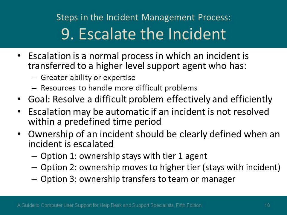 Steps in the Incident Management Process: 9. Escalate the Incident