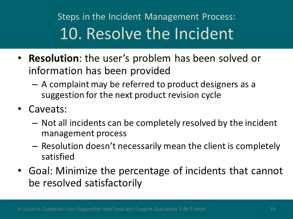 Steps in the Incident Management Process: 10. Resolve the Incident