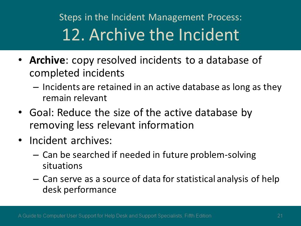 Steps in the Incident Management Process: 12. Archive the Incident