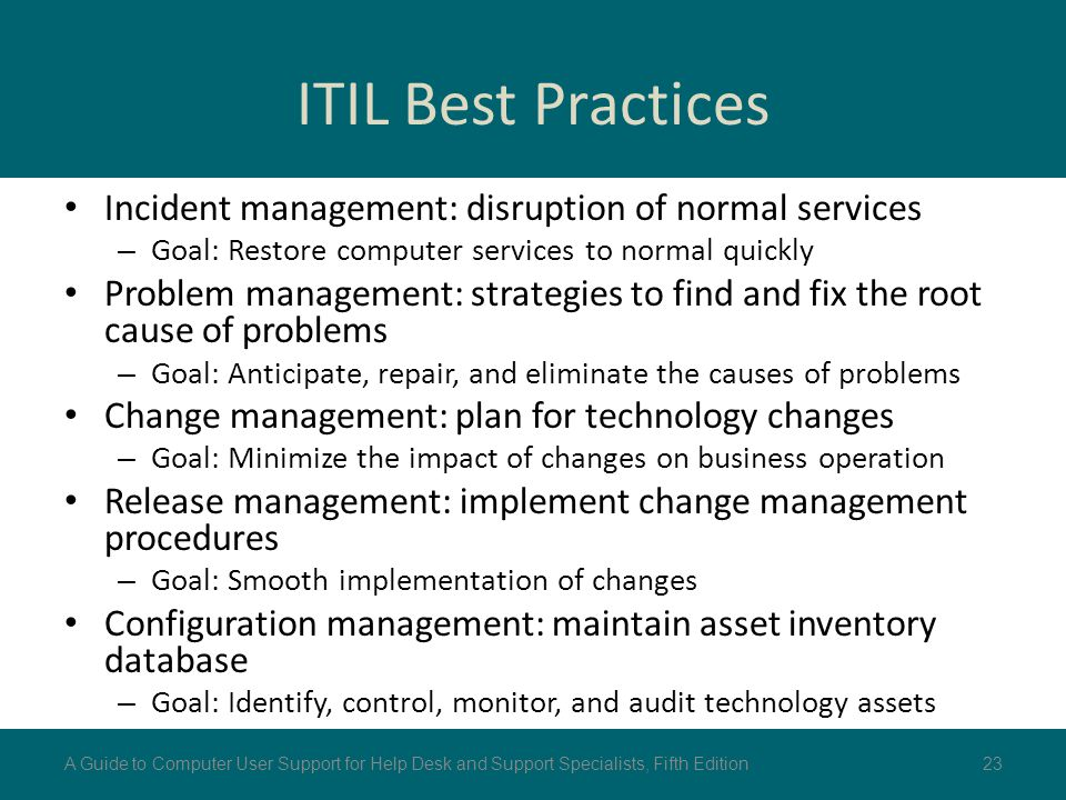 ITIL Best Practices Incident management: disruption of normal services