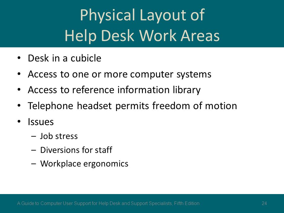 Physical Layout of Help Desk Work Areas