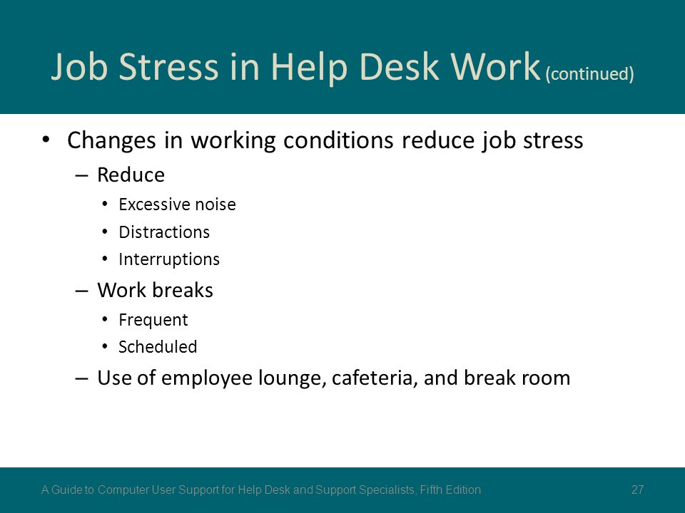 Job Stress in Help Desk Work (continued)