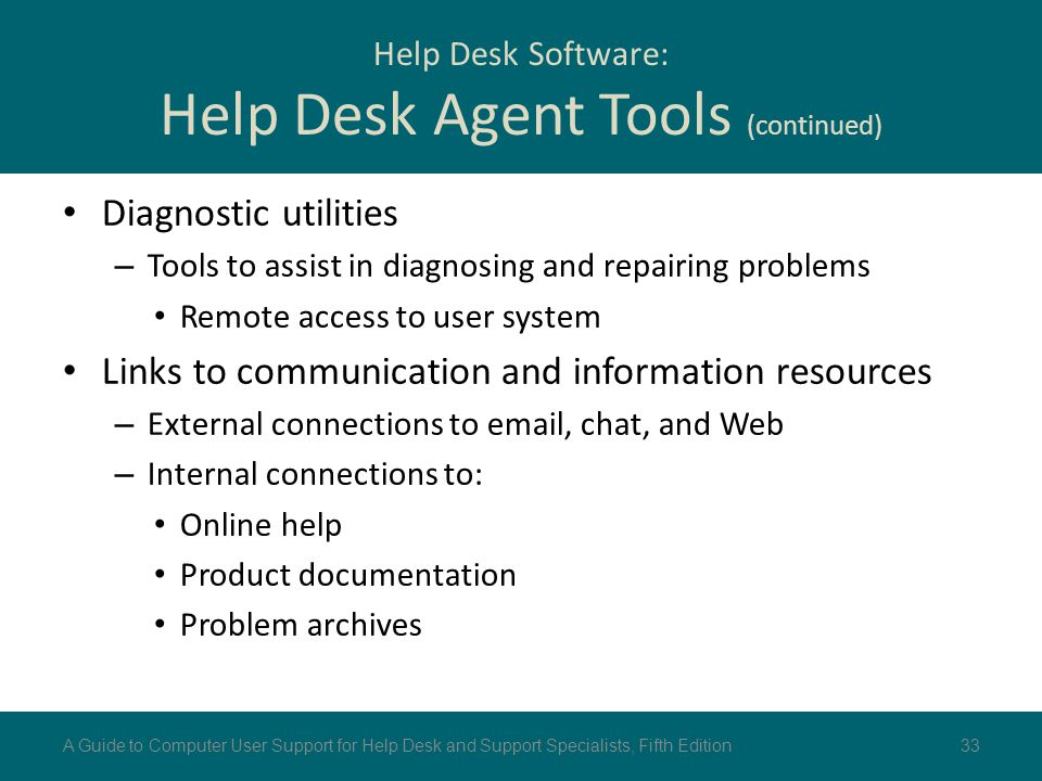 Help Desk Software: Help Desk Agent Tools (continued)