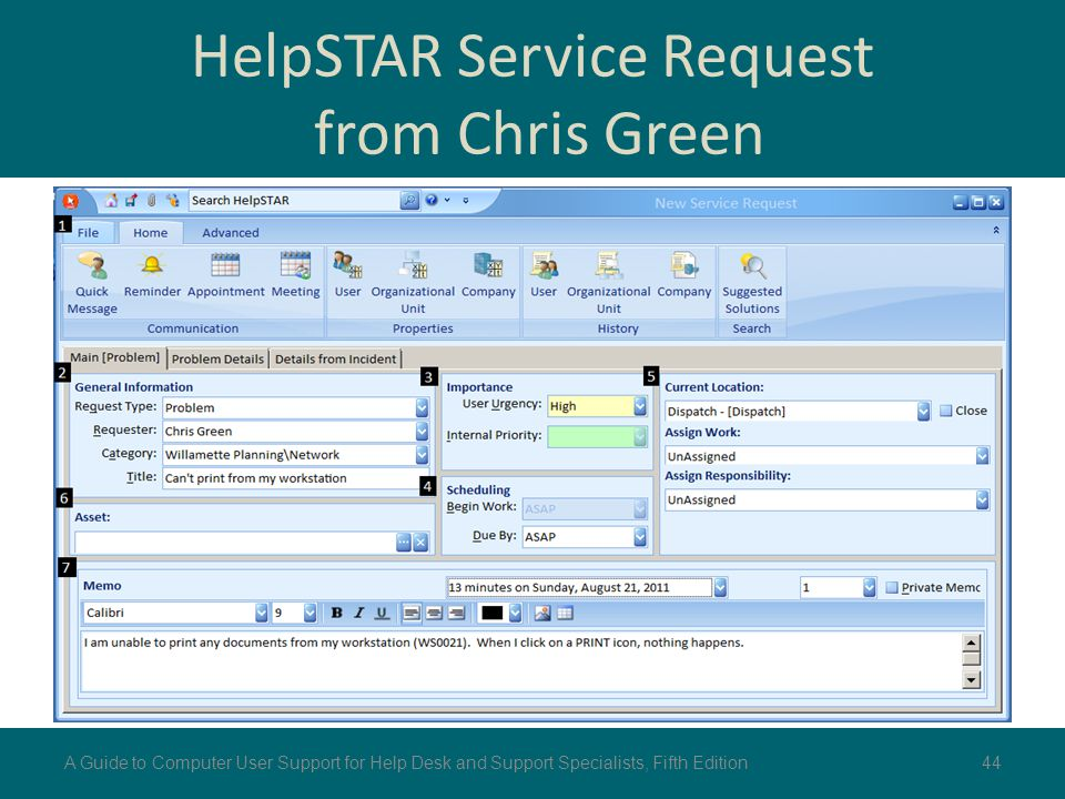 HelpSTAR Service Request from Chris Green