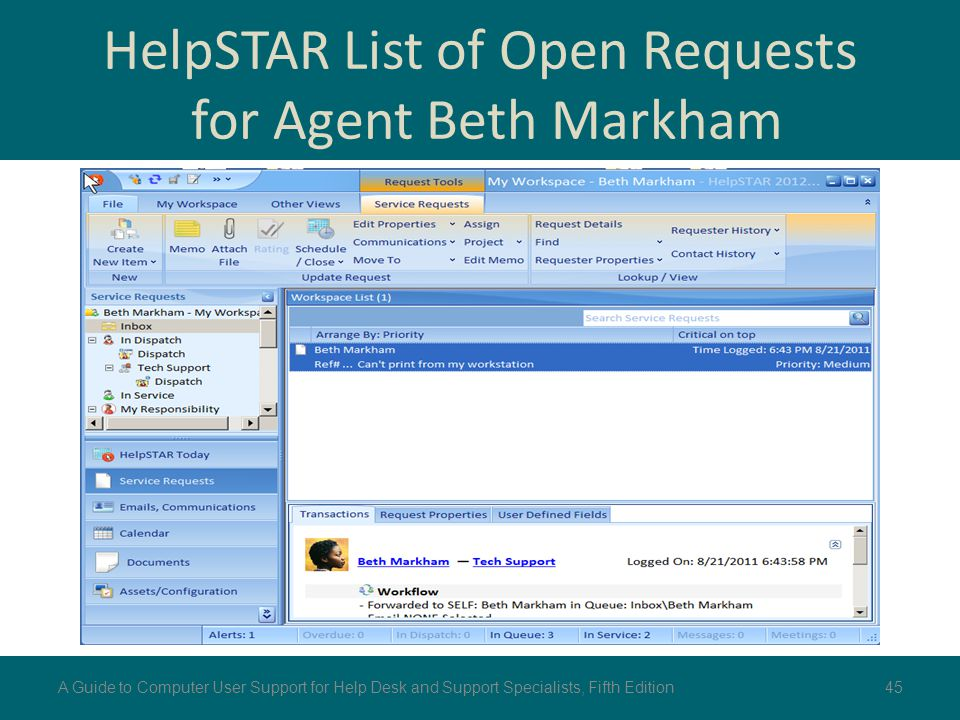 HelpSTAR List of Open Requests for Agent Beth Markham