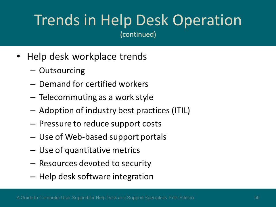 Trends in Help Desk Operation (continued)