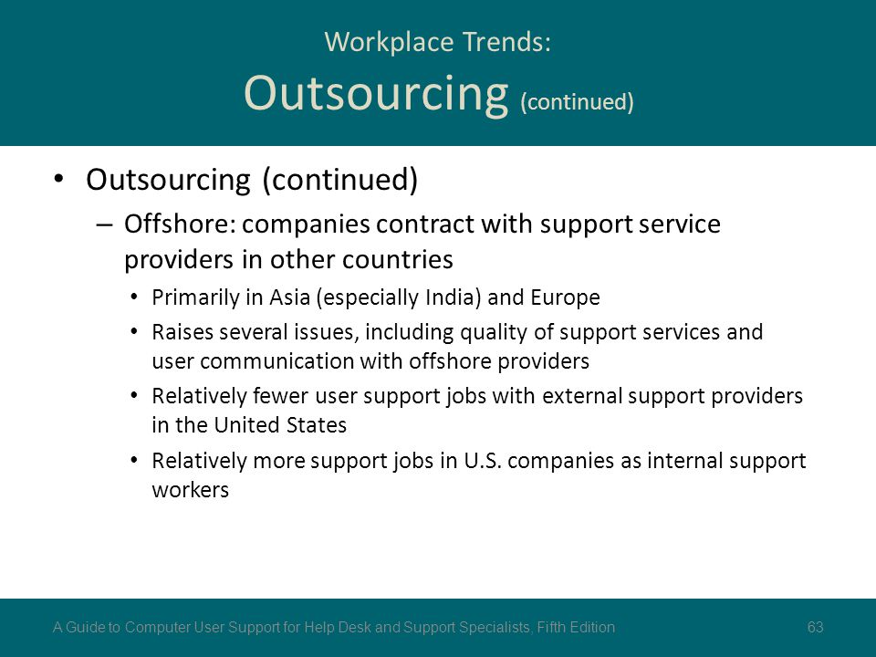 Workplace Trends: Outsourcing (continued)