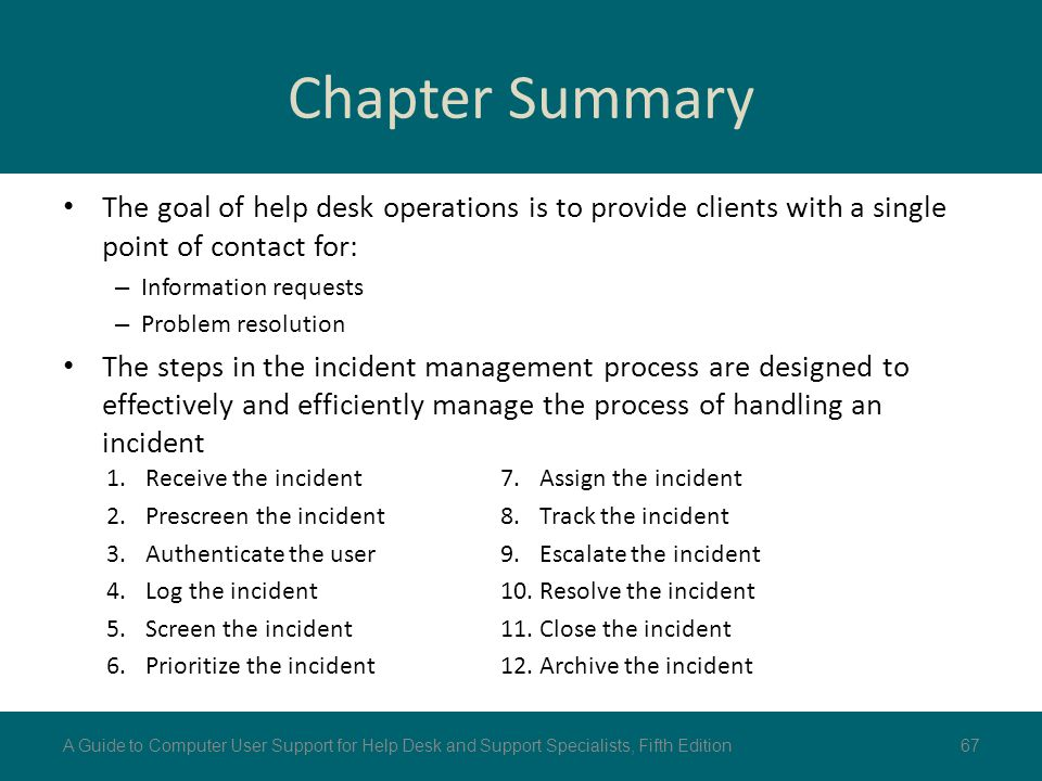 Chapter Summary The goal of help desk operations is to provide clients with a single point of contact for: