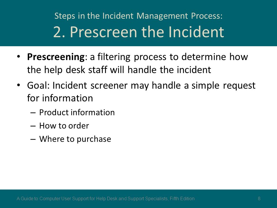 Steps in the Incident Management Process: 2. Prescreen the Incident