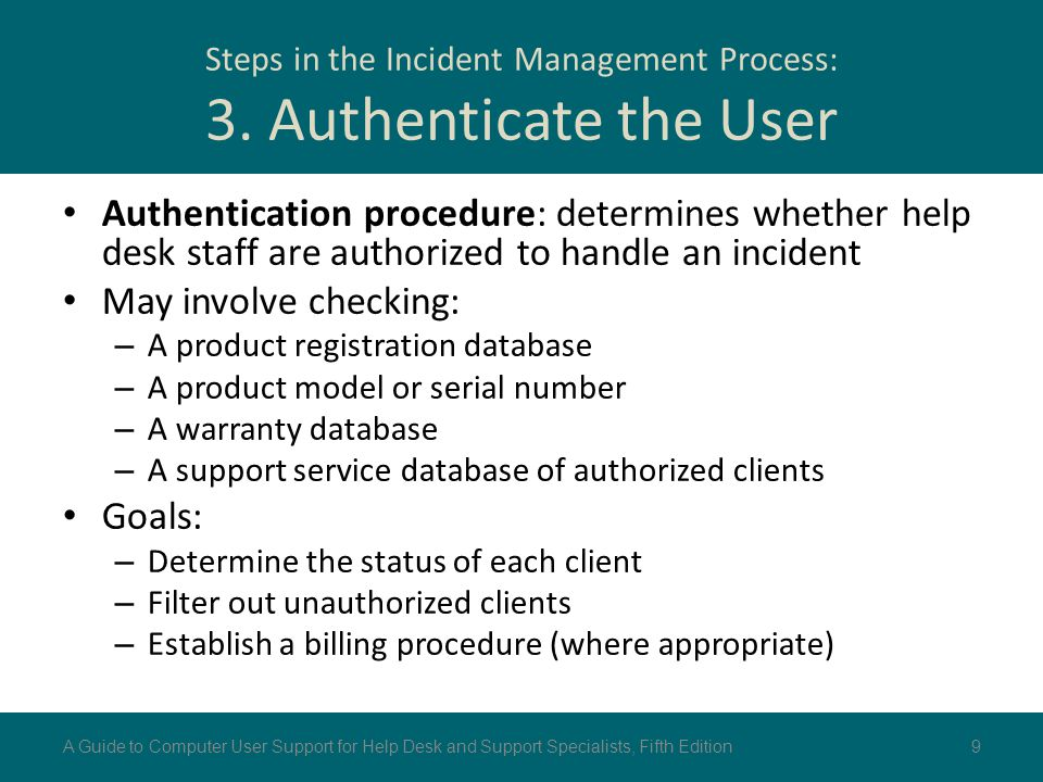 Steps in the Incident Management Process: 3. Authenticate the User
